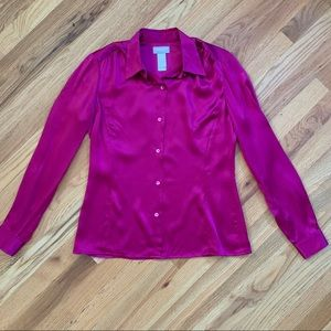 LIZ CLAIBORNE Fuchsia Button Down Blouse Sz 4 EUC!